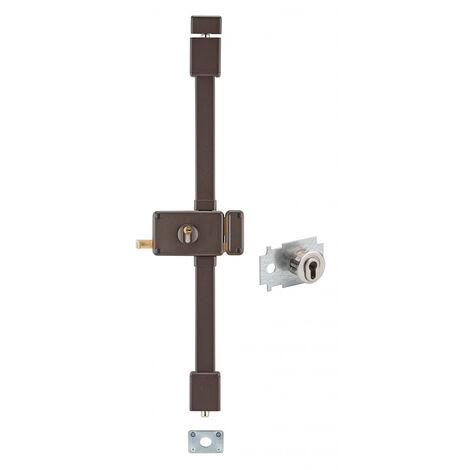 THIRARD - Serrure en applique Horga A2P* à tirage pour entrée, droite, 3pts, Transit2 30x65mm, axe 70mm, marron, 4 clés