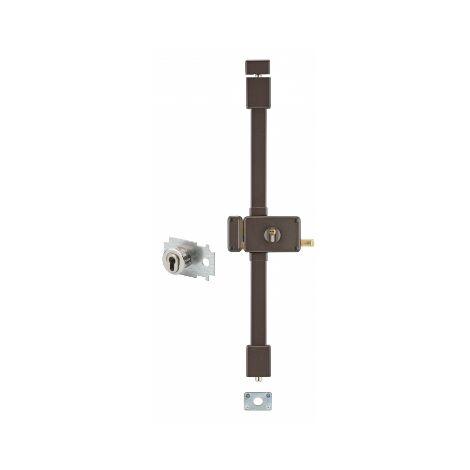 THIRARD - Serrure en applique Horga A2P* à tirage pour entrée, gauche, 3pts, Transit2 30x65mm, axe 70mm, marron, 4 clés