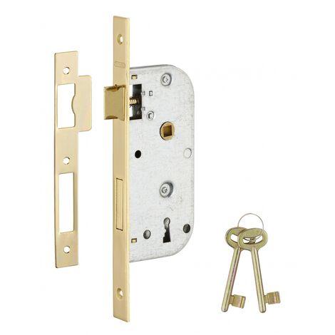 Thirard - Serrure encastrable à clé pour porte de chambre, axe 40mm, bouts carrés, 2 clés