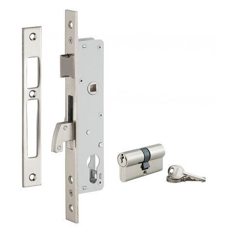 THIRARD - Serrure encastrable à crochet avec cylindre pour porte métallique, axe 25mm, bouts carrés, 3 clés