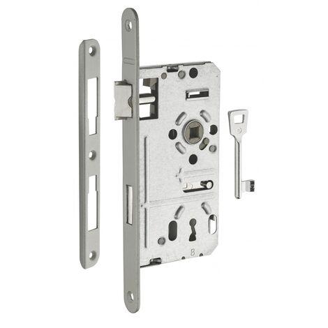 THIRARD - Serrure encastrable Alsace à clé pour porte de chambre, droite, axe 55mm, bouts ronds, têtière vernie, 1 clé