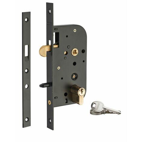THIRARD - Serrure encastrable crochet à cylindre pour porte coulissante, axe 50mm, cylindre 30x30mm, bouts carrés, noir, 3 clés