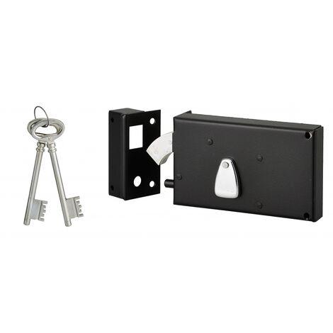 THIRARD - Serrure horizontale 4 gorges en applique à clé à crochet pour portail, gauche, axe 58mm, 140x82mm, noir, 2 clés