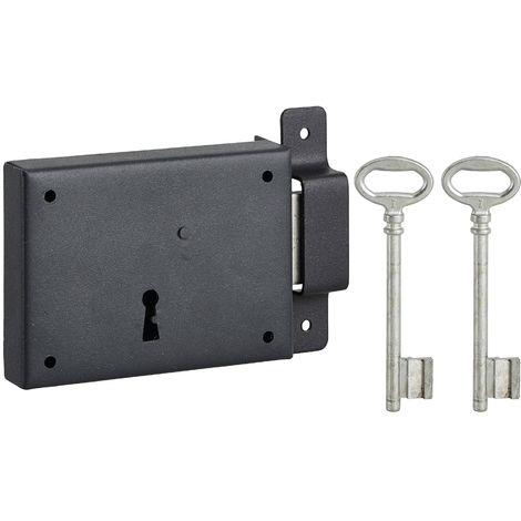 THIRARD - Serrure horizontale en applique à clé pour porte de cave, pêne seul, droite, axe 60mm, 110x80mm, noir, 2 clés