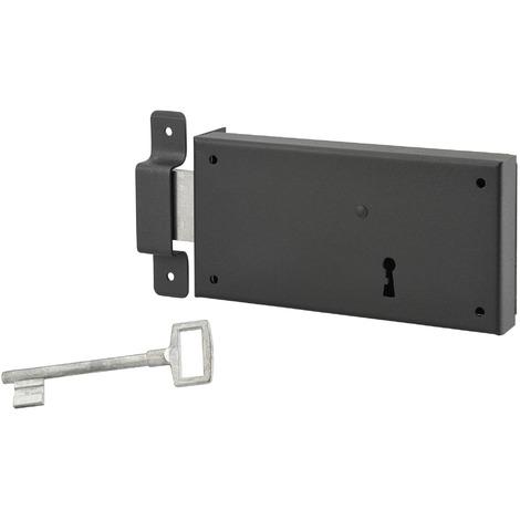 THIRARD - Serrure horizontale en applique à clé pour porte de cave, pêne seul, gauche, axe 105mm, 160x80mm, noir, 1 clé