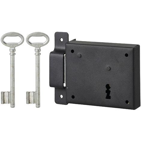 THIRARD - Serrure horizontale en applique à clé pour porte de cave, pêne seul, gauche, axe 60mm, 95x76mm, noir, 2 clés