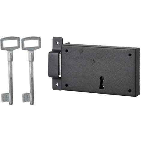 THIRARD - Serrure horizontale en applique à clé pour porte de cave, pêne seul, gauche, axe 80mm, 140x80mm, noir, 2 clés