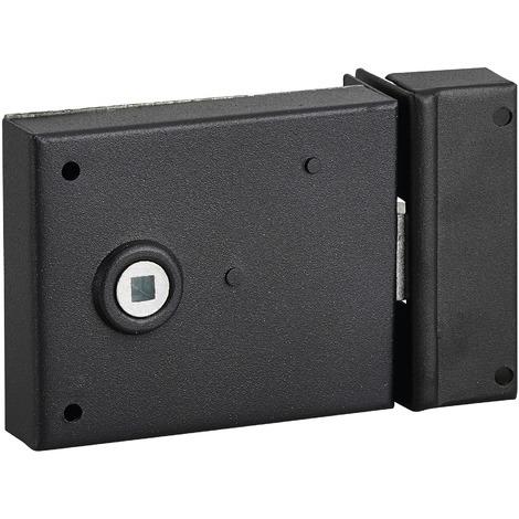 THIRARD - Serrure horizontale en applique à fouillot pour porte int., pêne 1/2tour seul, axe 45mm, carré 6mm, 95x76mm, noir