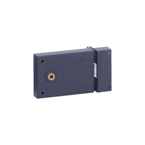 THIRARD - Serrure horizontale en applique à fouillot pour porte int., pêne 1/ tour seul, axe 45mm, carré 6mm, 110x76mm, noir