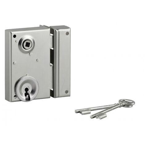THIRARD - Serrure verticale en applique à clé à fouillot pour portail, droite, axe 40mm, 70x110mm, zingué, 2 clés