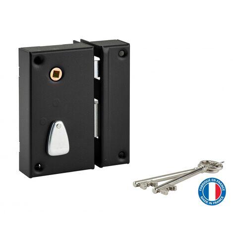 THIRARD - Serrure verticale en applique à clé à fouillot pour portail, droite, axe 45mm, 75x130mm, noir, 2 clés