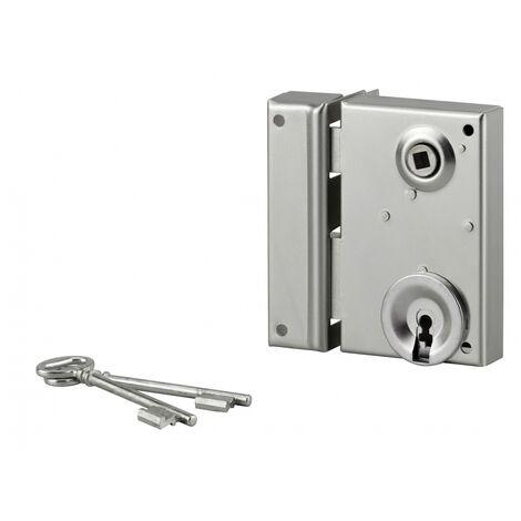 THIRARD - Serrure verticale en applique à clé à fouillot pour portail, gauche, axe 40mm, 70x110mm, zingué, 2 clés