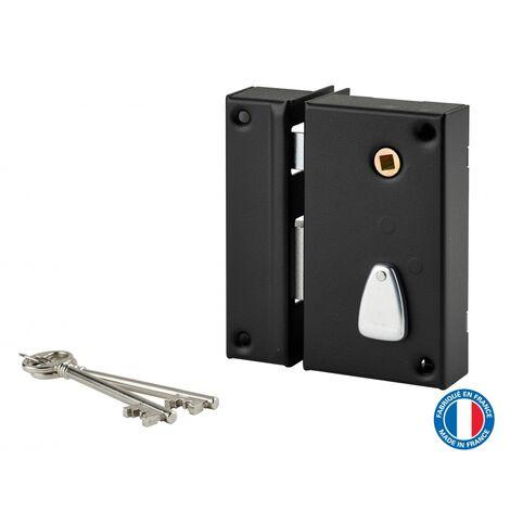 THIRARD - Serrure verticale en applique à clé à fouillot pour portail, gauche, axe 45mm, 75x130mm, noir, 2 clés