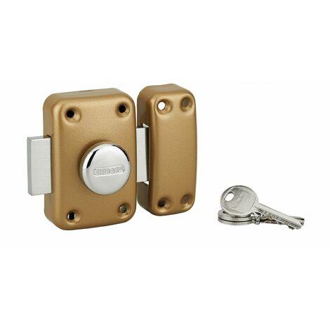 THIRARD - Verrou à bouton Apache pour porte d'entrée, cylindre 40mm, acier, 3 clés, époxy or