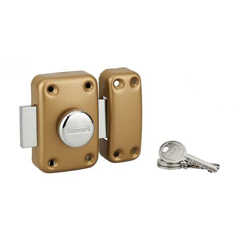 THIRARD - Verrou à bouton Apache pour porte d'entrée, cylindre 60mm, acier, 3 clés, époxy or