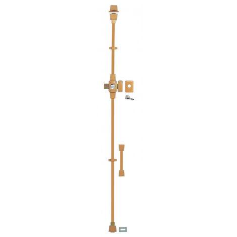 THIRARD - Verrou à bouton Mirage 6 pour porte d'entrée, cylindre 45mm, tringle 3 pts en acier, droit, 3 clés, epoxy bronze