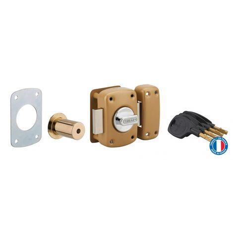 THIRARD - Verrou à bouton Surveyor pour porte d'entrée, cylindre 40mm, acier, 4 clés, epoxy bronze