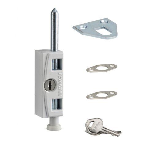 THIRARD - Verrou à clé pour fenêtre et porte coulissante, blanc, 2 clés