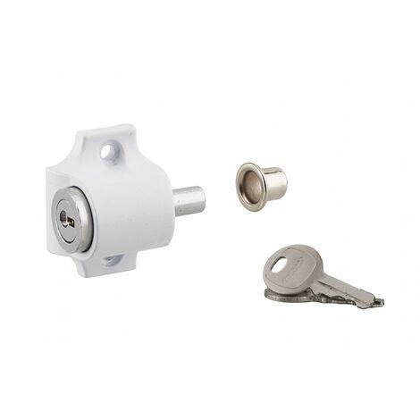 THIRARD - Verrou à cylindre pour baie coulissante, pêne poussoir, blanc, 2 clés