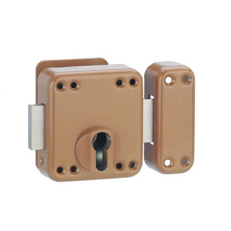 Thirard - Verrou de porte d'entrée boitier rafale cylindre profilé époxy bronze