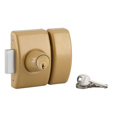 THIRARD - Verrou double entrée Design 5 pour porte d'entrée, cylindre 45mm, acier, 3 clés, bronze