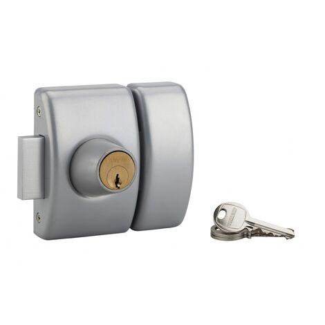 THIRARD - Verrou double entrée Design 5 pour porte d'entrée, cylindre 50mm, acier, 3 clés, argent