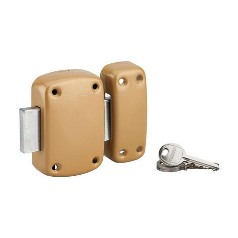 Thirard - Verrou sans bouton Etendard pour porte de cave, cylindre 40mm, acier, 3 clés, époxy bronze