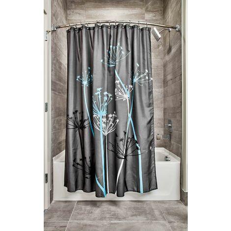 Thistle rideau douche, grand rideau baignoire 180 cm x 180 cm en polyester, rideau de bain lavable fleuri en tissu doux, gris/bleu