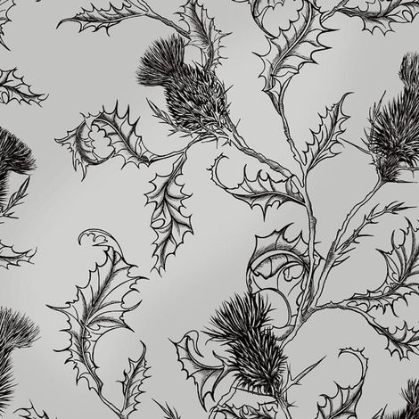 Thistle Wallpaper Thorn Flower Metallic Charcoal YöL