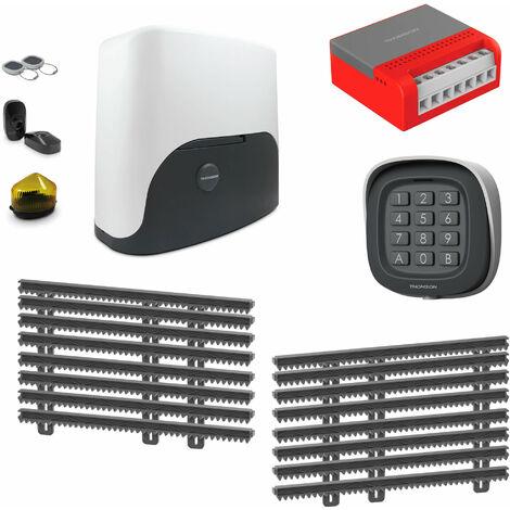 Thomson Kit Motorisation Pour Portail Coulissant - 1 motorisation Thomson + 1 kit de crémaillère de 8 mètres + 1 kit wifi connecté + 1 digicode sans fil