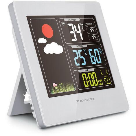 Thomson - Station météo écran couleur sans fil affichage température extérieur/intérieur - TNT