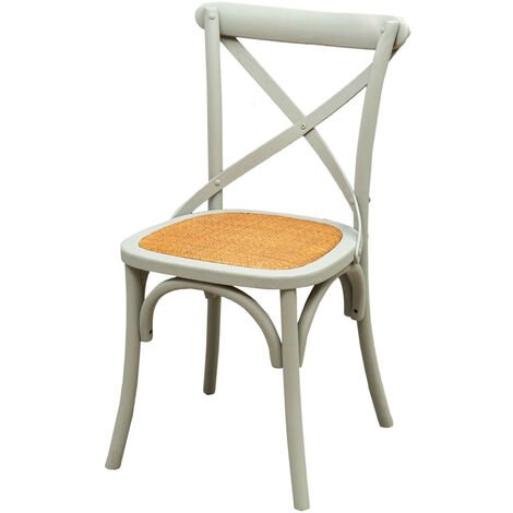 Thonet chair in solid ash wood and rattan seat in Grey finish L48xPR52xH88 cm