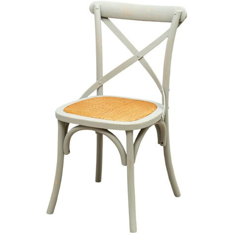 Thonet chair in solid ash wood and rattan seat with antiqued Grey finish L48xPR52xH88 cm