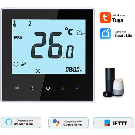 THP1000-UHPW electrico de la temperatura de calefaccion del termostato inteligente WiFi Controlador Digital Tuya / Smartlife aplicacion de control LCD retroiluminado Display programable de control por voz Compatible con Amazon Eco / Google Inicio / Tmall