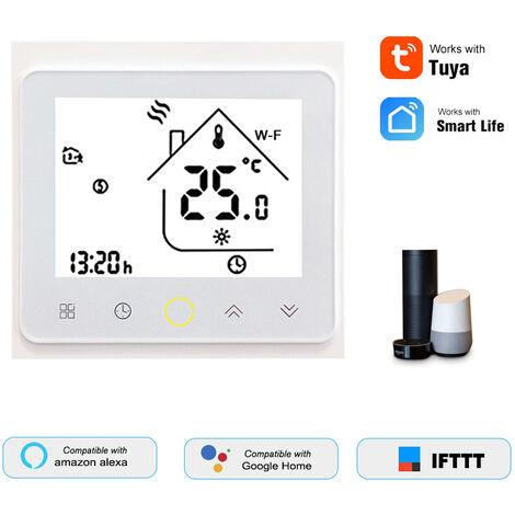 Thp1002-Cgtl Eau / Gaz Chaudiere Thermostat Intelligent Wifi Numerique Regulateur De Temperature Tuya / Smartlife App Controle Ecran Lcd Retro-Eclaire Programmable De Commande Vocale, Blanc