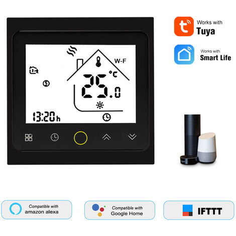 Thp1002-Cgtl Eau / Gaz Chaudiere Thermostat Intelligent Wifi Numerique Regulateur De Temperature Tuya / Smartlife App Controle Ecran Lcd Retro-Eclaire Programmable De Commande Vocale, Noir