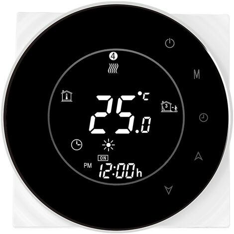 Thp6000-Cgtl Eau / Gaz Chaudiere Thermostat Intelligent Wifi Numerique Regulateur De Temperature Tuya / Smartlife App Controle Ecran Lcd Retro-Eclaire Programmable De Commande Vocale, Noir