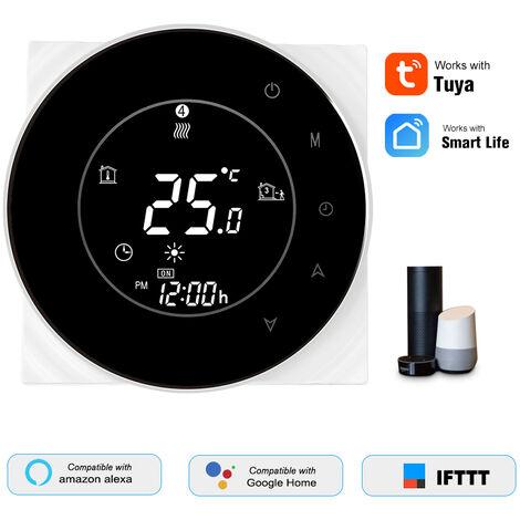 Thp6000-Whpw Wasserheizung Smart Thermostat Digital Wifi Temperaturregler Tuya / Smartlife App Control Programmierbares rucklichtbeleuchtetes LCD-Display mit Sprachsteuerung, Schwarz