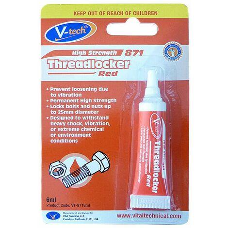 Thread Lock Red High Strenght V-Tech Threadlocker 6ml Fast Fix Glue Nuts/Bolts