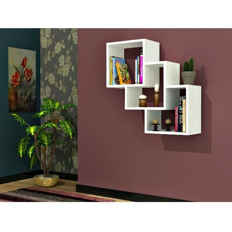 Three Box Floating Wall Shelf - Cube - for Living Room, Office - White, made in Wood, 57,9 x 19,5 x 57,7 cm