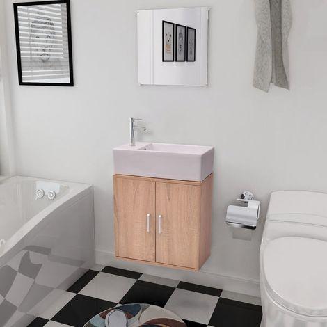 Three Piece Bathroom Furniture and Basin Set Beige