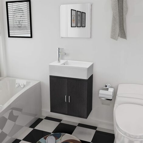 Three Piece Bathroom Furniture and Basin Set Black