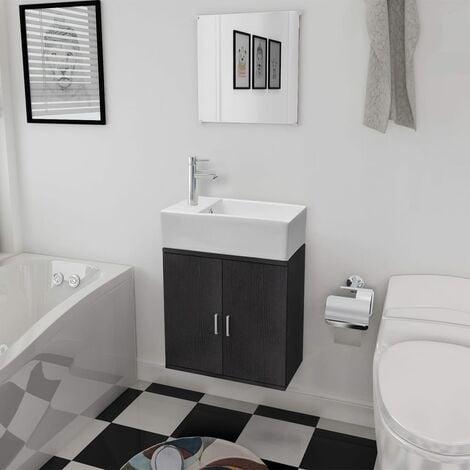 Three Piece Bathroom Furniture and Basin Set Black - Black