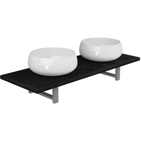 Three Piece Bathroom Furniture Set Ceramic Black
