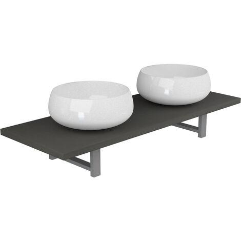Three Piece Bathroom Furniture Set Ceramic Grey