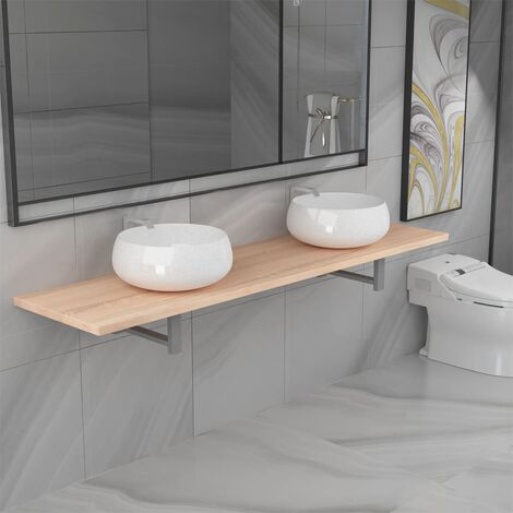 Three Piece Bathroom Furniture Set Ceramic Oak