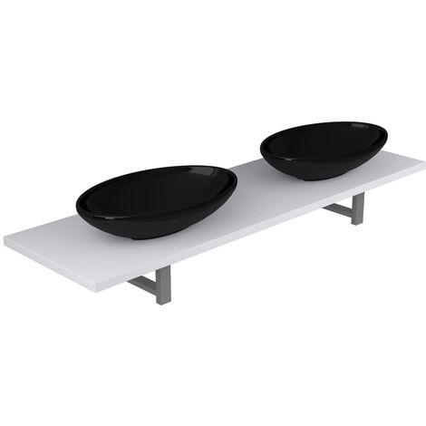 Three Piece Bathroom Furniture Set Ceramic White
