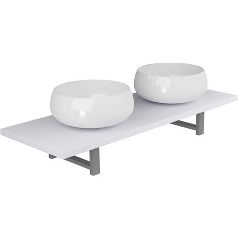 Three Piece Bathroom Furniture Set Ceramic White