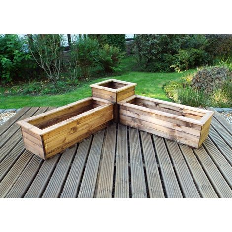 Three Piece Corner Planter Set, Wooden garden pots/tubs for plants, fully assembled