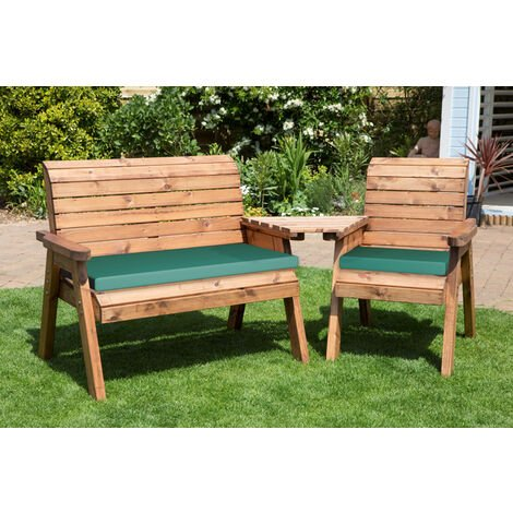 Three Seat Companion Set Angled with Green Cushions - Fully Assembled